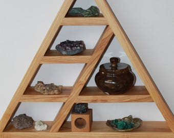 Triangle Shelf Crystal Display Meditation Shelf Altar Shelf wooden shelf rustic shelf pyramid shelf  eco gift minerals shelf yoga stand boho