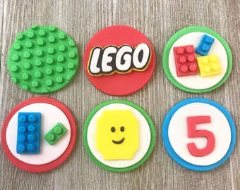 Lego Cupcake Toppers - Edible Fondant - Set of 12
