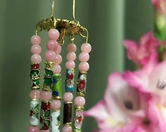 Pink Beaded Wind Chime for Fairy Gardens