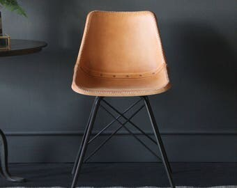 Cross Leg Chair with Tan leather covered seat