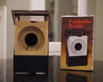 Vintage 1970s Foldable Scale/ Plastic Foldable Scale/ Brown and Tan/ Original Box