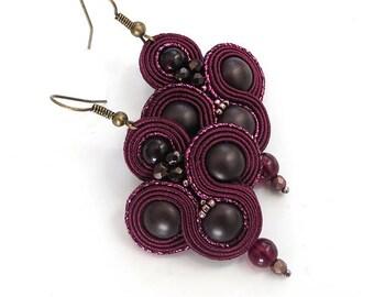 Inspirational earrings Gift for woman soutache earrings Maroon jewelry Long earrings Red earring  Burgundy earrings wine earrings