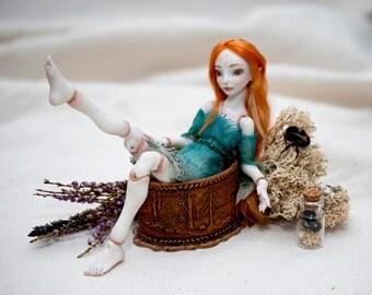 Bjd elf Sammy bjd art doll Redhead fairy Collectible bjd Cute doll Fantasy bjd dollhouse ooak ball jointed doll Fairy art ooakdoll bjd doll