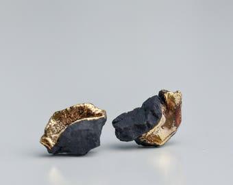Earrings for men, mens earrings, black porcelain jewelry, gold earrings, small stud earrings, casual jewelry, gift for her, Black earrings