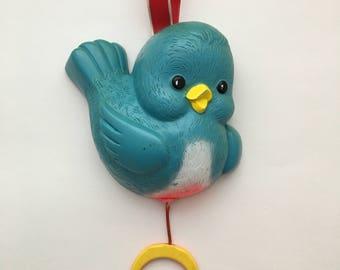 Vintage Fisher Price Bluebird crib toy, 1968 Fisher Price Bluebird, Fisher Price crib toy, Bluebird music box, Bluebird pull toy, 60s crib