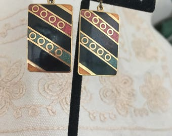 Vintage enamel earrings, enamel earrings, cloisonne earrings, pierced earrings, pierced cloisonne earrings, vintage enamel earrings E123