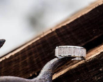 Deer Antler Wedding Ring - Titanium or Stainless