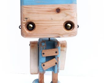 Raw recycled wood - the bicolor light blue robot