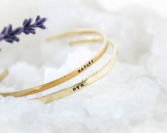 Custom Name Gold Nugold Metal Hand Stamped Bracelet, Birthday, Christmas, Mother Day, Anniversary Gift