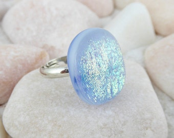 Fused glass dichroic ring, blue glass ring, chunky ring, costume ring, adjustable ring, costume jewellery