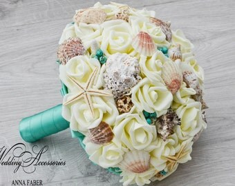 Beach wedding bouquet, Teal Seashell Bouquet,Teal Shell Bridal Bouquet,bridesmaids, ivory and teal wedding bouquet, Sea Shells, Emerald