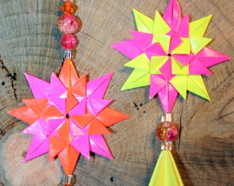 Origami Set Of 2 Small Pink Orange Yellow Star And Diamond Hanging Ornaments