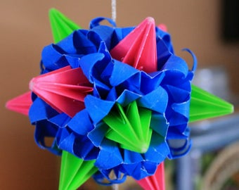 Origami Kusudama Pink Green Blue Witch Spike Ball Hanging Ornament