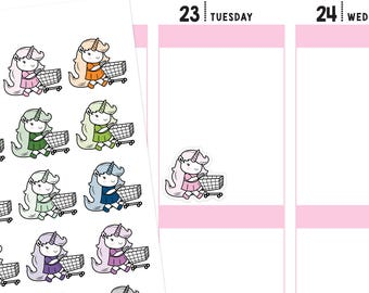 Shopping Unicorn Planner Stickers, Shopping Stickers, Unicorn Stickers