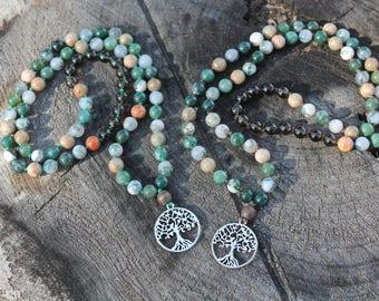 Mother Earth casual mala // moss agate, smoky quartz, unakite