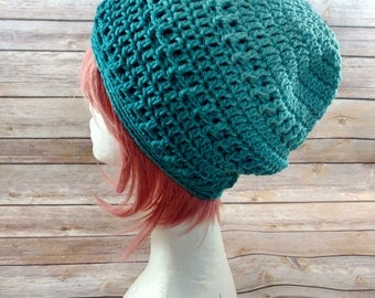 Stylish Hand Crochet Green Ombre Slouch Hat - Ready to ship!