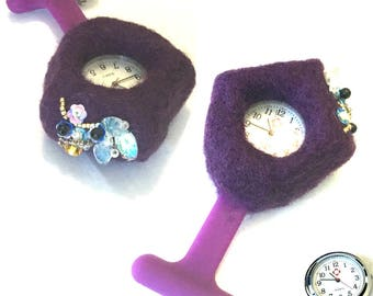 Purple Felted Watch Brooch, Beaded Watch Brooch,  Holiday Gift Guide, Needle Felted Watch Brooch, Embellished Nurses Watch, Unique Gift