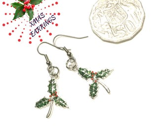 Holly Xmas Earrings, Small Enamelled Holly Leaf Earrings,Dainty Xmas Earrings, Early Xmas Gift,Silver Holly earrings, Free local Shipping