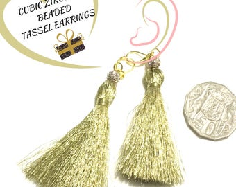 Pretty Soft Gold Tassel Earrings, Cubic Zirconia Beaded Earrings, On Trend Earring, Glamorous Party Earrings, Stylish Gift, Earrings Gold