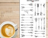 Boho Arrows Planner Stickers | Decorative Arrows | Arrows Stickers | Black and White Stickers | Journalling Stickers | Monochrome (S-263)