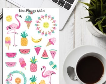 Summer Loving Planner Stickers | Limited Release | Mystery Grab Bag November 2016 | Tropical Stickers | Flamingo Stickers (MGB-NOV16)
