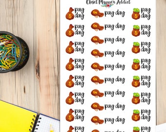 Pay Day Planner Stickers | Pay Day Stickers | Income Stickers | Salary Stickers | Money Stickers | Finance Stickers (S-303)