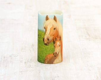 Horse And Foal Decorative Candle, Horse Lovers Candle Gift, Equestrian Home Decor, LED Flameless Candle, Equestrian Gift