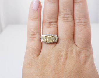 Three Stone 3 Carat Canary Yellow Diamond 18k White Gold || Cushion Cut Diamond 3 Stone Engagement Ring 3 CT engagement diamond ring
