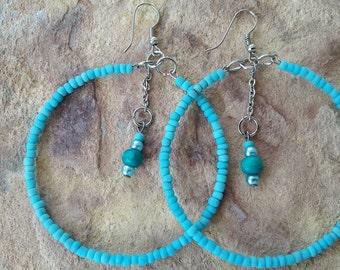 Blue silver earrings big hoop earrings beaded hoops handmade jewellery modern jewelry light hoops fashion earrings modern  hoops gift girl