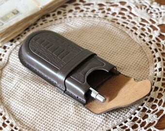 Leather Pen Case - Handmade Pencil Case - Leather Pen Holder - Vintage Pen Pouch - Pencil Box - Pen Organizer - Fountain Pen Case