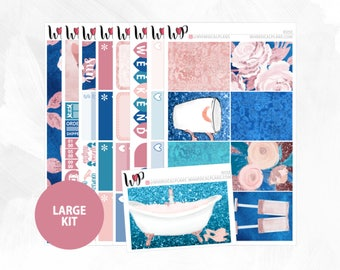 Rosé Large Kit | Full Boxes Checklists Functional Boxes Headers Littles Sidebar Extras Washi | Matte Glossy Planner Stickers