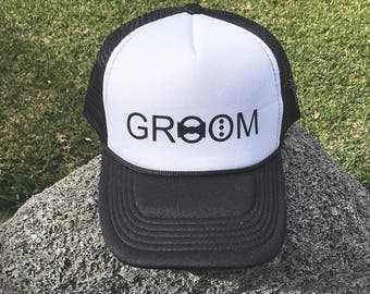 Groom Hat Cap Baseball Trucker Groomsment Bride Bridesmaid Tribe Bachelorette Bachelor Party Wedding gift maid of honor mother of the bride