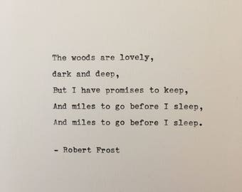Robert Frost quote hand typed on antique typewriter scrapbooking
