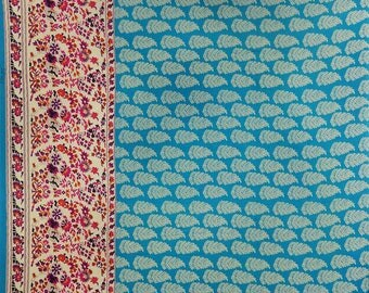 """Leaf Printed, Sea Blue Fabric, Apparel Fabric, Dress Material, Quilt Fabric, 42"""" Inch Cotton Fabric By The Yard ZBC3743"""