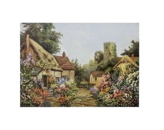 Set of 6 - Vintage MINT Watercolor English Cottage Scenes by Victorian Painter Daniel Sherrin, British Cottage Homes, 8x10, Unframed Prints
