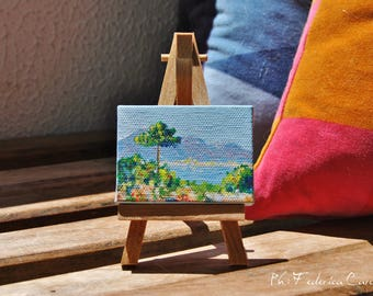 Painting on an easel, fresh air, nature lovers, original, hand-painted acrylic on canvas 5 x 7 cm