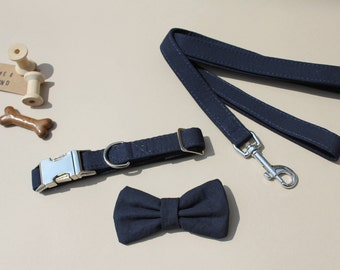 Dog Collar Wedding - navy blue cotton collar with matching bow tie (matching lead also available seperately) with silver metal fittings.