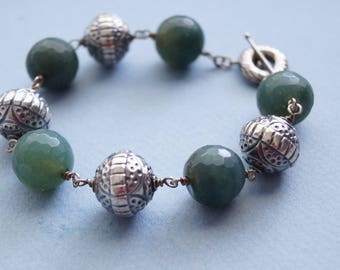 Big Bold Baubles of Faceted Moss Agate, Bali Sterling Silver Wire Beaded Bracelet