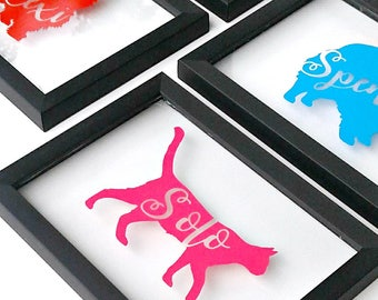 Pet Silhouette, Personalized Pet, Floating Frame, Dog Silhouette, Pet Decor, Pet Wall Art, Personalized Dog Silhouette