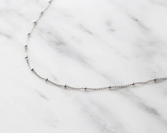 Silver Satellite Chain Necklace / Silver Satellite Choker / Silver Satellite Necklace / Dainty Necklace / Bridesmaid Necklace
