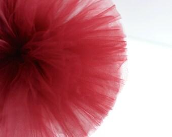 Burgundy tulle pom poms / wedding party decorations / girls birthday party  pompoms / nursery decor / weddings / tulle pompom / kids room