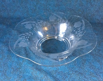 Vintage Etched Floral and Wheat Centerpiece Bowl