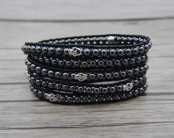 Black beads bracelet Hematite beads wrap bracelet leather wrap bracelet skull bracelet black hematite bracelet Bho wrap bracelet yogaSL-0603