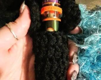 Vape Holder Crocheted Lanyard Black Smock Vape Pen 22 Holder Necklace (Vape Not Included)