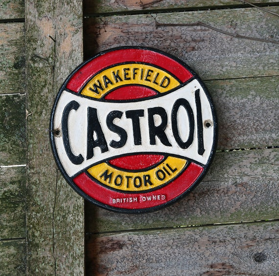Castrol Wakefield Motor Oil British Owned Cast Iron Vintage Style Sign Engine Motosports Glasgow 1968 British Owned