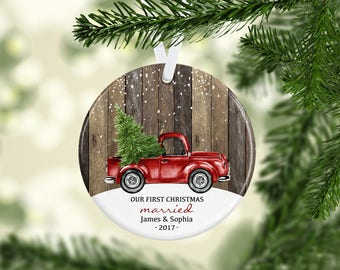 Wedding Gift Ornament Personalized Gift, First Christmas Married Ornament, Our First Christmas Married Couple, Blue Pickup Truck Ornament