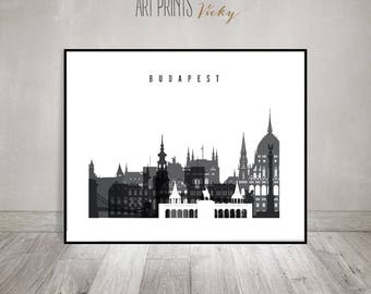 Budapest skyline art print, Black and white Poster, Travel, wall art, minimalist art, Hungary cityscape, Wall Decor, Gift,  ArtPrintsVicky