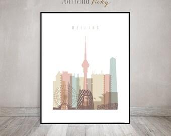 Beijing Print Pastel Skyline Poster | ArtPrintsVicky.com