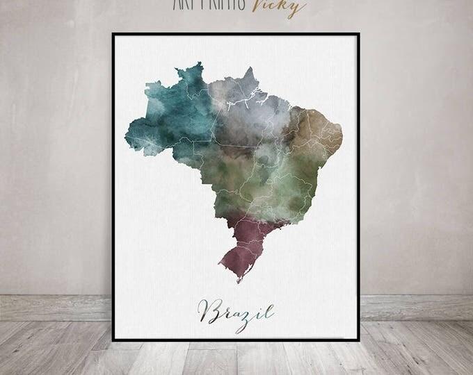 Brazil map, watercolor map, art print, travel map, Brazil poster, South America, wall art, painting, Gift, home decor, ArtPrintsVicky