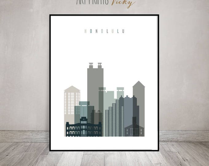 Honolulu skyline, Hawaii cityscape, Honolulu wall art, print, Travel poster, Wall decor, Home Decor, Travel Gift, ArtPrintsVicky